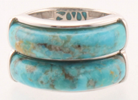 Sterling Silver Turquoise Two - Stone Band Ring - SZ 7 at PristineAuction.com