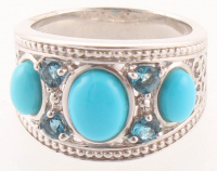 Silver Turquoise & Blue Topaz Ring - SZ 7 at PristineAuction.com
