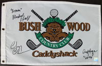 "Chevy Chase, Cindy Morgan, & Michael O'Keefe Signed ""Caddyshack"" Bushwood Country Club Pin Flag Inscribed ""Noonan"" & ""Lacey"" (Super Star Hologram) at PristineAuction.com"