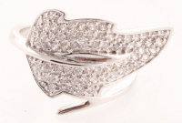 Silver Tone Cubic Zirconia Leaf Bypass Ring - 6 at PristineAuction.com