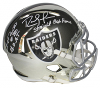 "Jerry Rice & Randy Moss Signed Raiders Full-Size Chrome Speed Helmet Inscribed ""G.O.A.T."" & ""Straight Cash Homie"" (Beckett COA) at PristineAuction.com"