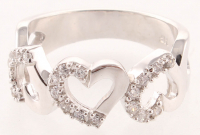 Silver Tone Cubic Zirconia Hearts Ring - 8 at PristineAuction.com