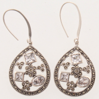 Sterling Silver Marcasite & CZ Drop Earrings at PristineAuction.com