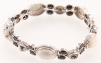 "Silver White Buffalo & Spine Bracelet 8.2"" at PristineAuction.com"