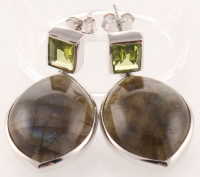 Sterling Silver Labradorite & Peridot Drop Earring at PristineAuction.com