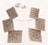 Sterling Silver Marcasite Squared Drop Earrings at PristineAuction.com