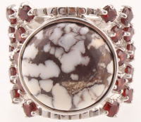 Sterling Silver Wild Horse & Garnet Ring - SZ 7 at PristineAuction.com