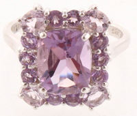 Sterling Silver 3.65ct Amethyst Halo Ring - SZ 7 at PristineAuction.com
