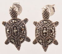 Sterling Silver Marcasite Turtle Earrings at PristineAuction.com