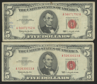 Lot of (2) 1963 $5 Five Dollar Red Seal U.S. Bank Note Bills at PristineAuction.com