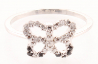 Silver Tone Cubic Zirconia Butterfly Ring - 8 at PristineAuction.com
