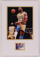Magic Johnson Signed Lakers 11x17 Custom Matted Cut Display With Photo (JSA COA) at PristineAuction.com