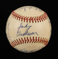 1973 Cincinnati Reds ONL Baseball Team-Signed by (14) with Sparky Anderson, Tom Hall, Joe Morgan, George Scherger, Ed Armbrister (JSA ALOA) at PristineAuction.com