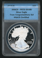 2018-W American Silver Eagle $1 One-Dollar Coin - From the Congratulations Set (ANACS PR70 Deep Cameo) at PristineAuction.com