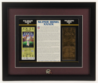 Super Bowl XXXIX Commemorative 16x19 Custom Framed Score Card Display with 23kt Gold Ticket & Patriots Pin at PristineAuction.com