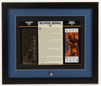 Super Bowl V Commemorative 16x19 Custom Framed Score Card Display with 23kt Gold Ticket & NFL Pin at PristineAuction.com