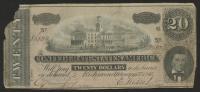 1864 $20 Twenty Dollars Confederate States of America Richmond CSA Bank Note Bill at PristineAuction.com