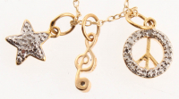 14K Gold Embraced Delicate Charm Necklace at PristineAuction.com