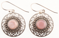 Silver Pink MOP & Marcasite Dangle Earrings at PristineAuction.com
