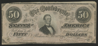 1864 $50 Fifty Dollar Confederate States of America Richmond CSA Bank Note at PristineAuction.com