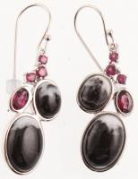 Silver White Buffalo & Garnet Drop Earrings at PristineAuction.com