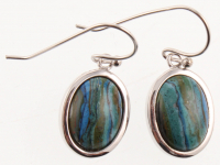 Sterling Silver Oval Calsilica Drop Earrings at PristineAuction.com