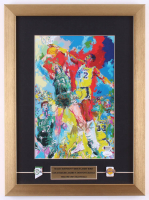 Magic Johnson & Larry Bird Signed 14x19 Custom Framed LeRoy Neiman Print Display with (2) Pins (JSA COA & Beckett Hologram) at PristineAuction.com
