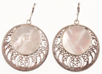 Sterling silver White MOP Openwork Disc Earrings at PristineAuction.com