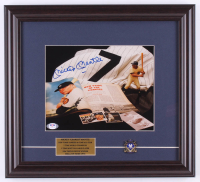 Mickey Mantle Signed Yankees 14.5x16 Custom Framed Print Display with Yankees Pin (PSA LOA) at PristineAuction.com