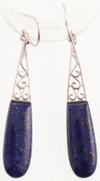 Sterling Silver Lapis Elongated Drop Earrings at PristineAuction.com