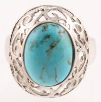 Sterling Silver Oval Turquoise Cut - Out Ring - SZ 7 at PristineAuction.com