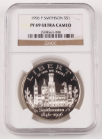 1996-P Smithsonian 150th Anniversary Silver Eagle $1 Dollar Coin (NGC PF 69 Ultra Cameo) at PristineAuction.com