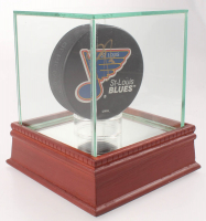 Pierre Turgeon Signed Blues Logo Hockey Puck with Display Case (PSA COA) at PristineAuction.com