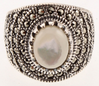 Sterling Silver MOP & Marcasite Ring - SZ 7 at PristineAuction.com