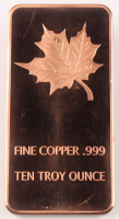 "10 Troy Ounce .999 Fine Copper ""Maple Leaf"" Bullion Bar at PristineAuction.com"