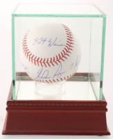 Nolan Ryan Signed OML Baseball with (4) Career Stat Inscriptions with Display Case (PSA COA) at PristineAuction.com