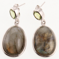 Sterling Silver Hypersthene Drop EarringsSterling Silver Labradorite & Peridot Drop Earring at PristineAuction.com