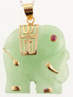 18K Gold Over Silver Green Jade Elephant Pendant at PristineAuction.com
