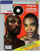 Sugar Ray Leonard Signed 1987 Knockout Boxing Magazine (PSA COA) at PristineAuction.com