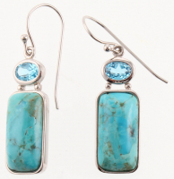Sterling Silver Turquoise & Topaz Dangle Earrings at PristineAuction.com