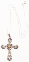 Silver Multi Gemstone & Marcasite Cross Pendant at PristineAuction.com