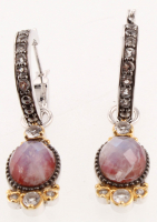 Silver Moonstone Jasper Doublet Drop Earrings at PristineAuction.com