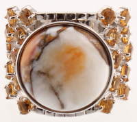 Silver Spiny Oyster & Citrine Wide Band Ring - SZ 8 at PristineAuction.com