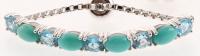 Silver Turquoise & Blue Topaz Slider Bracelet at PristineAuction.com