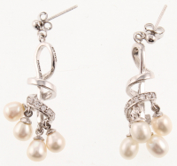Silver Freshwater Pearls Swirl Drop Earrings at PristineAuction.com