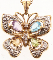 18K Gold Plated Multi - Gemstone Butterfly Pendant at PristineAuction.com