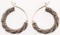 Sterling Silver Marcasite Hoop Earrings at PristineAuction.com