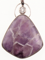 "Sterling Silver Amethyst & White Topaz ""Wishing Amulet"" Pendant at PristineAuction.com"