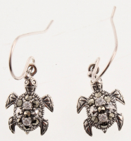 Sterling Silver Marcasite & CZ Turtle Earrings at PristineAuction.com