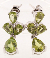Silver 4.64ctw Peridot Cluster Drop Earrings at PristineAuction.com